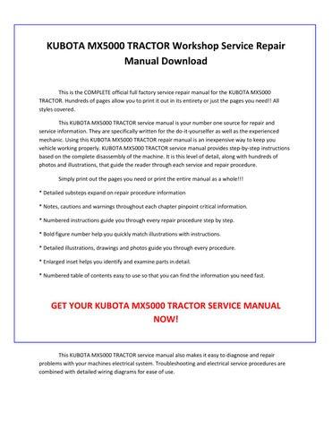 Peachy Kubota Mx5000 Tractor Service Repair Manual Pdf Download By Wiring Digital Resources Dylitashwinbiharinl