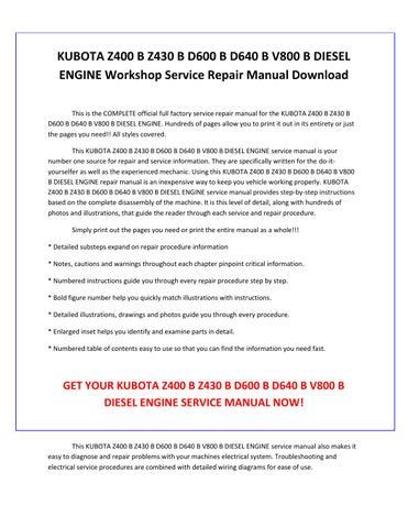 Fabulous Kubota Z400 B Z430 B D600 B D640 B V800 B Diesel Engine Service Wiring Database Indigelartorg