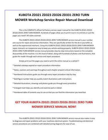 Kubota zd321 zd323 zd326 zd331 zero turn mower service repair manual on