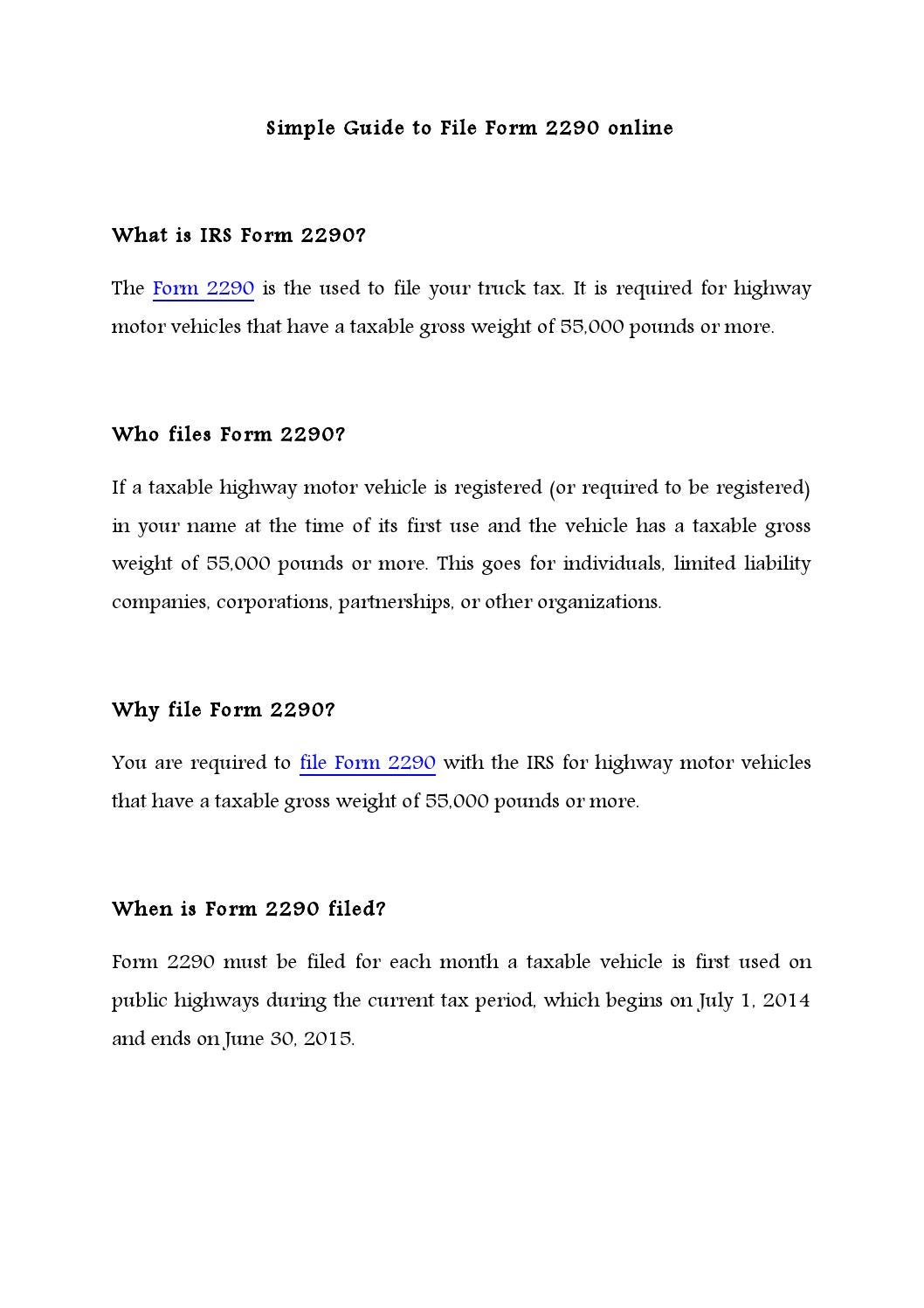Simple guide to file form 2290 by express truck tax issuu falaconquin