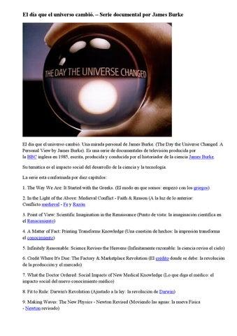 El día que el universo cambió – serie documental por james burke by ...