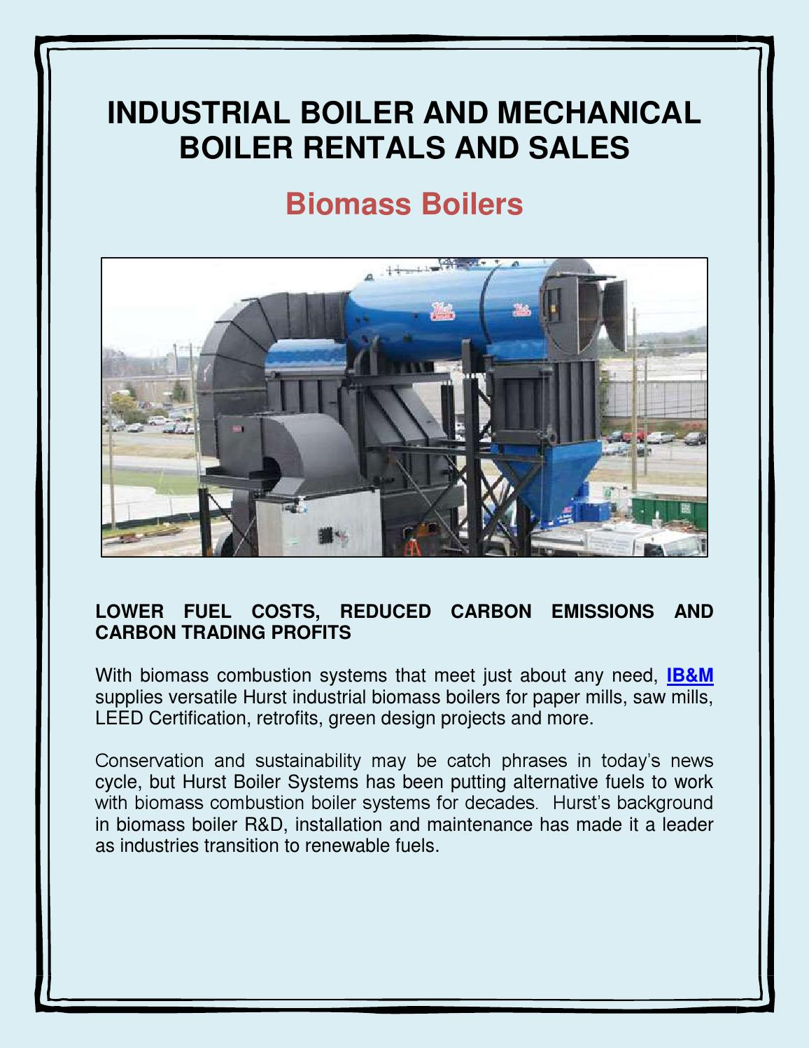 Industrial Boiler and Mechanical Boiler Rentals and Sales: Biomass ...