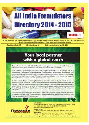 All India Formulators Directory 2014 - 2015 ( volume 1 ) by The