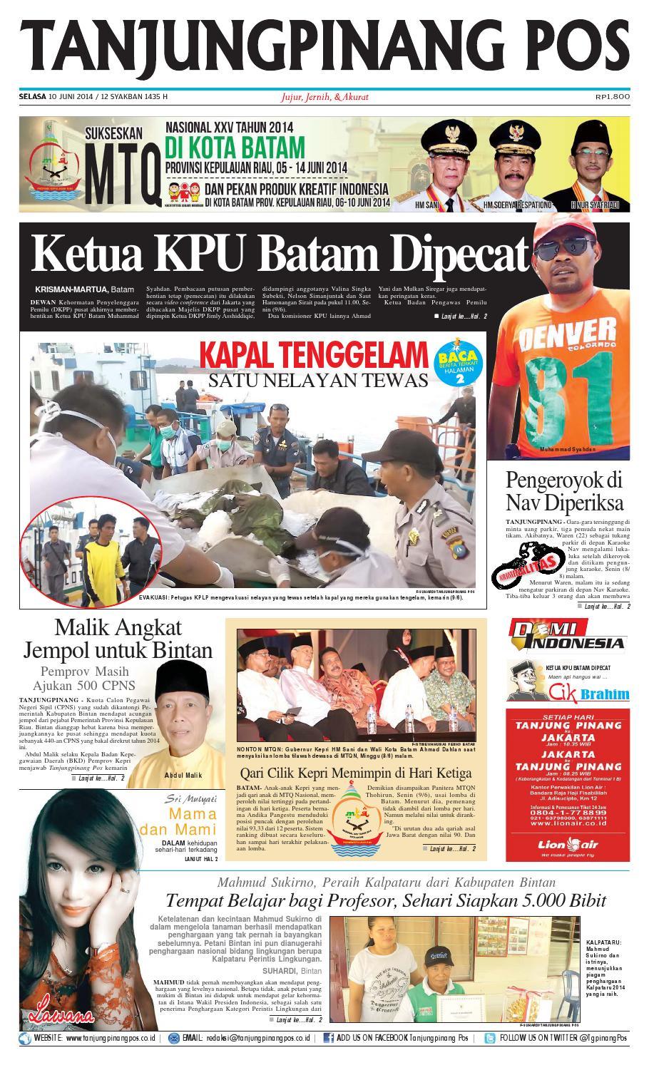 Epaper Tanjungpinangpos 10 Juni 2014 By Issuu Produk Ukm Bumn Bunge Tanjung Betabur