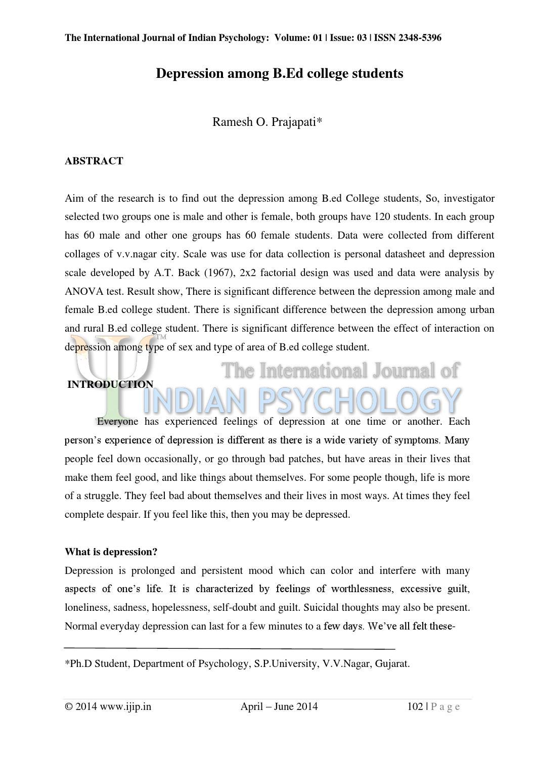 The international journal of indian psychology- volume 1