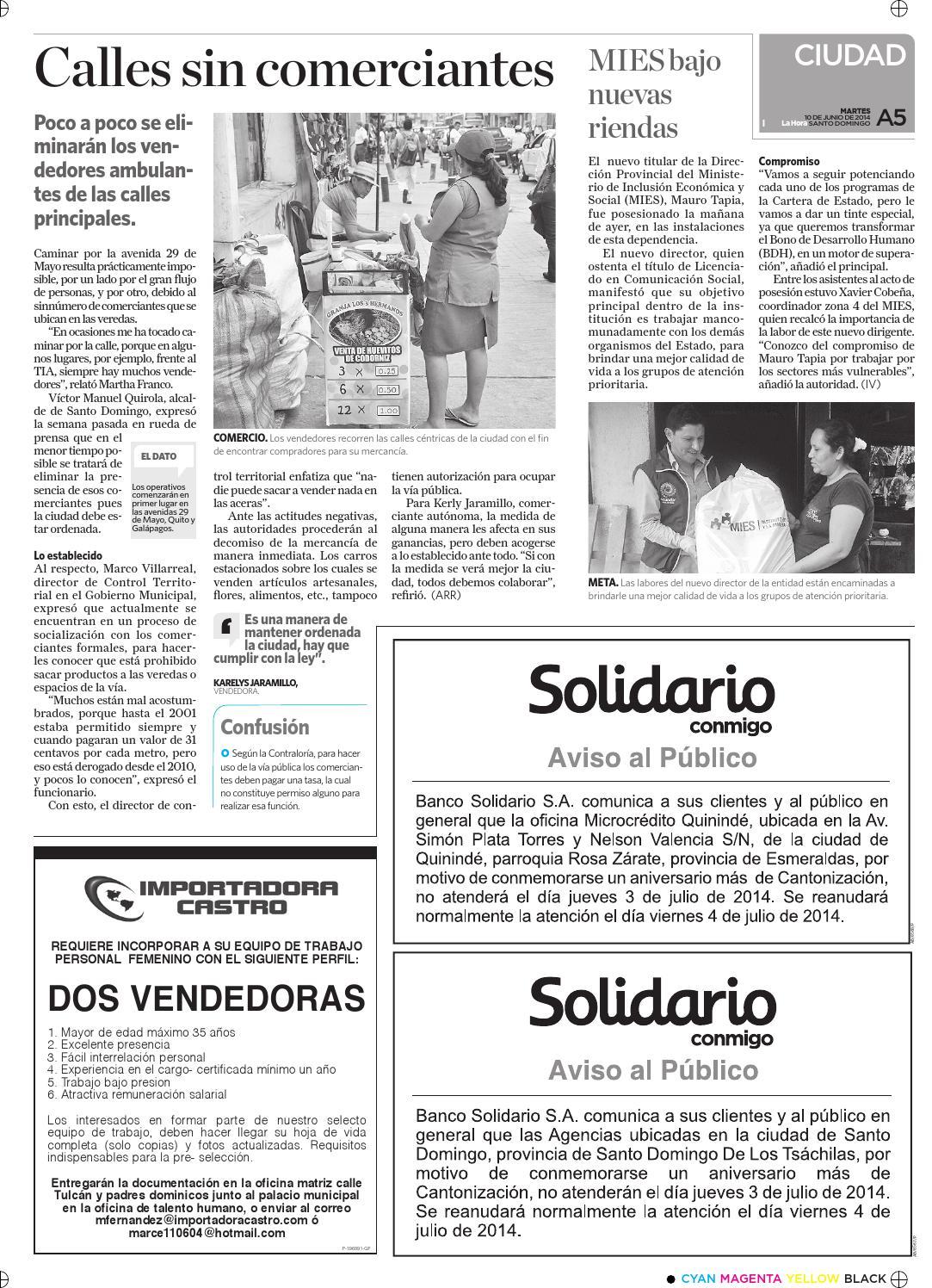 Santo Domingo 10 junio 2014 by Diario La Hora Ecuador - issuu