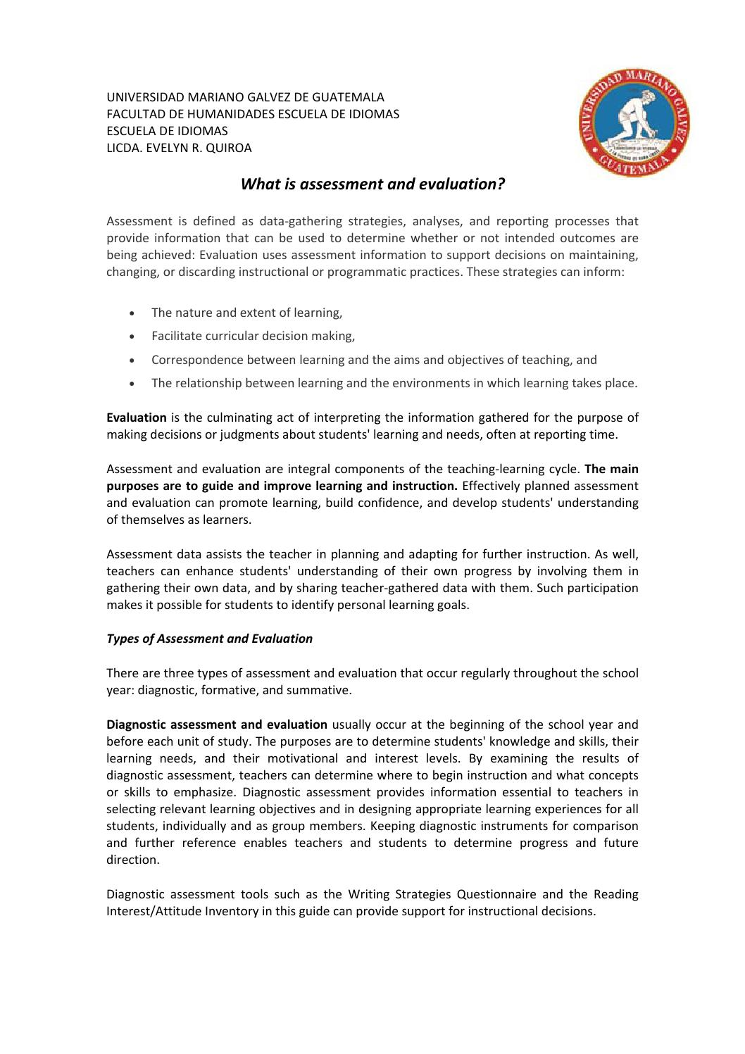 2 what is assessment and evaluation differnce by Evelyn Gonzalez - issuu