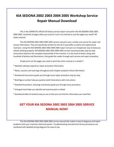 2002 kia sedona repair manual