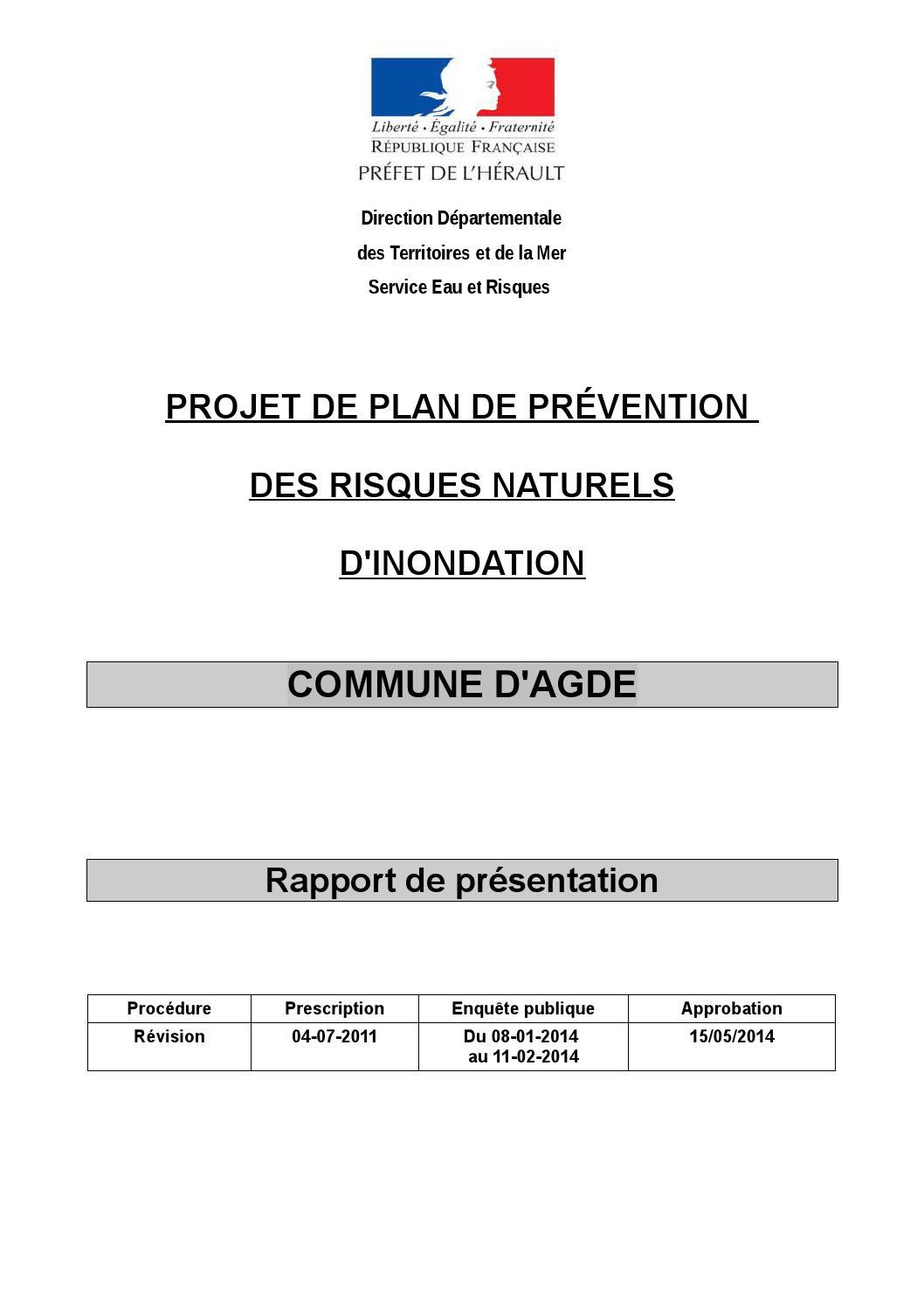 Projet de plan de pr vention des risques naturels d for Plan de prevention des risques entreprises exterieures
