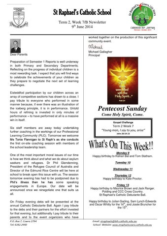 St Raphael's Central School Newsletter Trm2 Wk7 by CCNNEWS