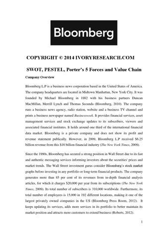 Bloomberg Sample- SWOT, PESTEL, Porter's 5 Forces and Value