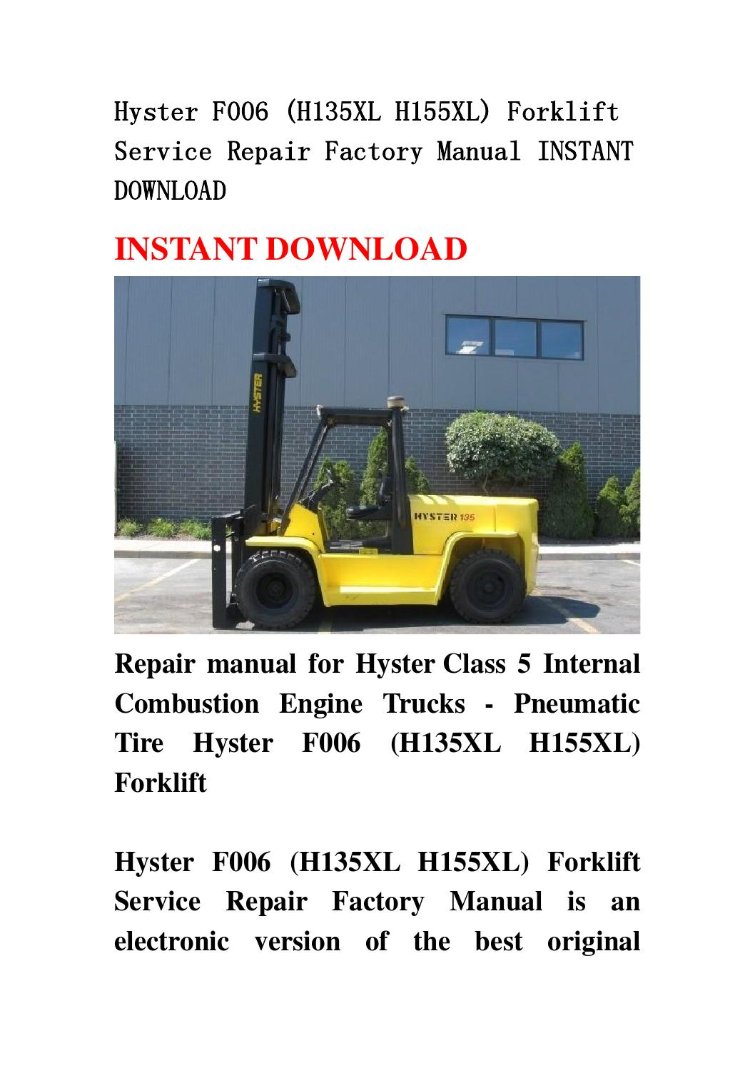 Hyster H155xl service Manual