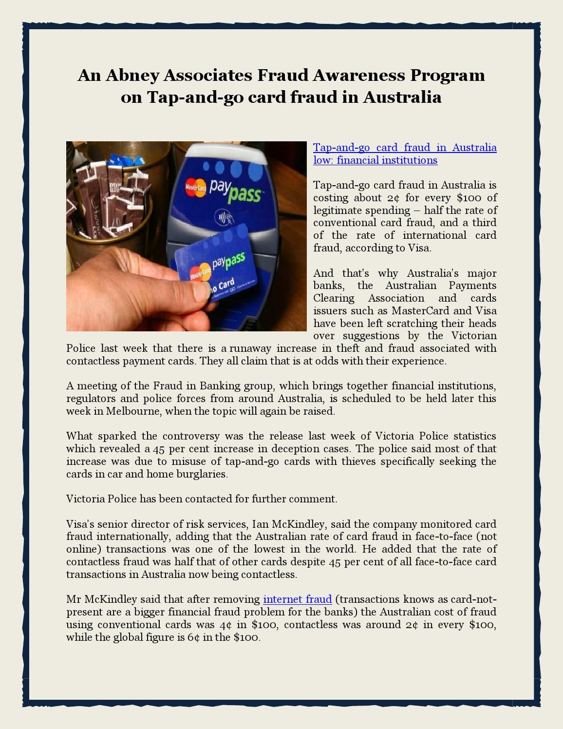 An Abney Associates Fraud Awareness Program on Tap-and-go