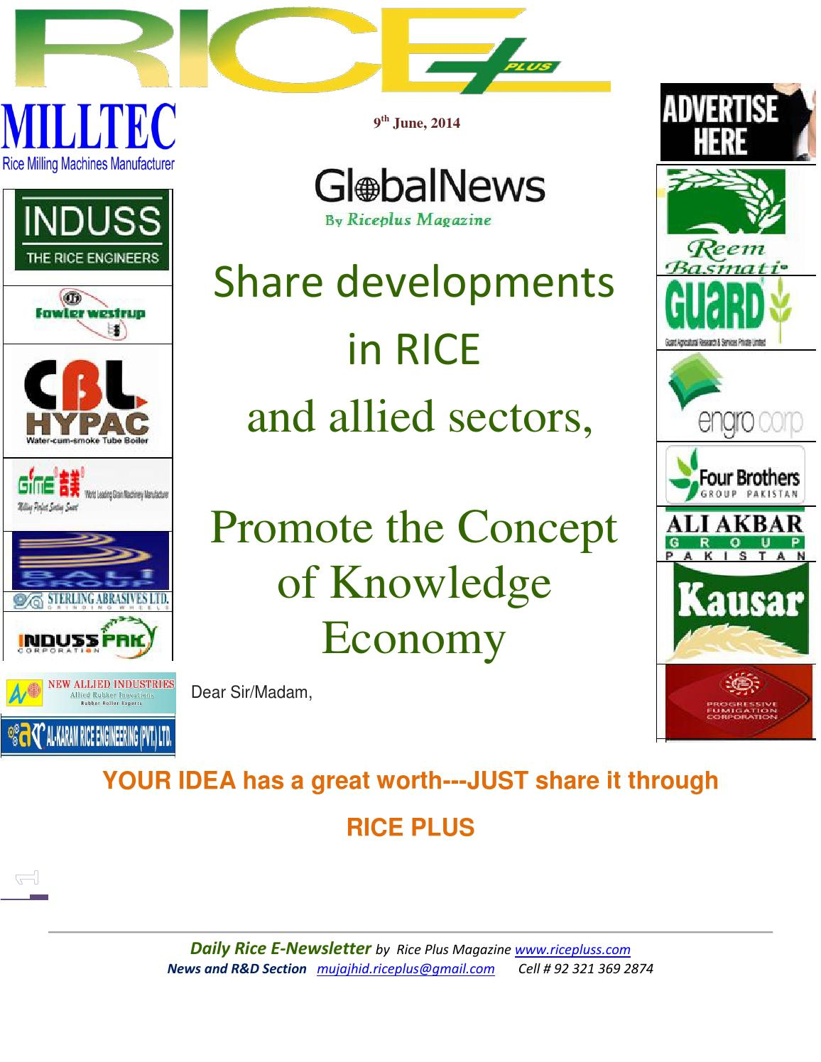 9th june,2014 daily global rice e newsletter by riceplus
