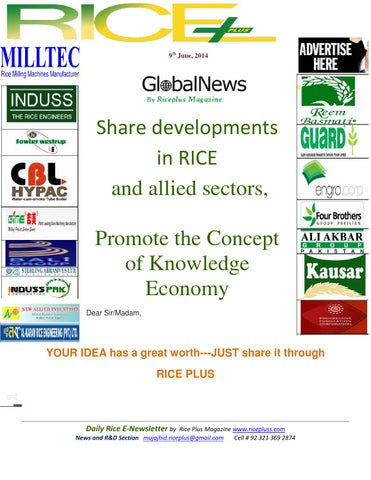 9th june,2014 daily global rice e newsletter by riceplus magazine by