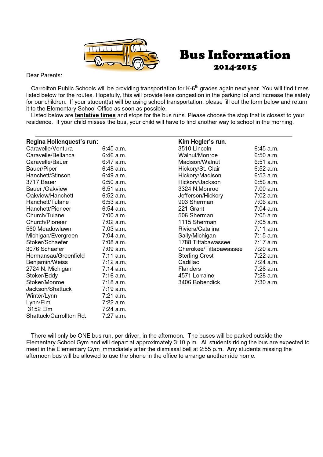 bus-sign-up-14-15 by Carrollton Public Schools - issuu