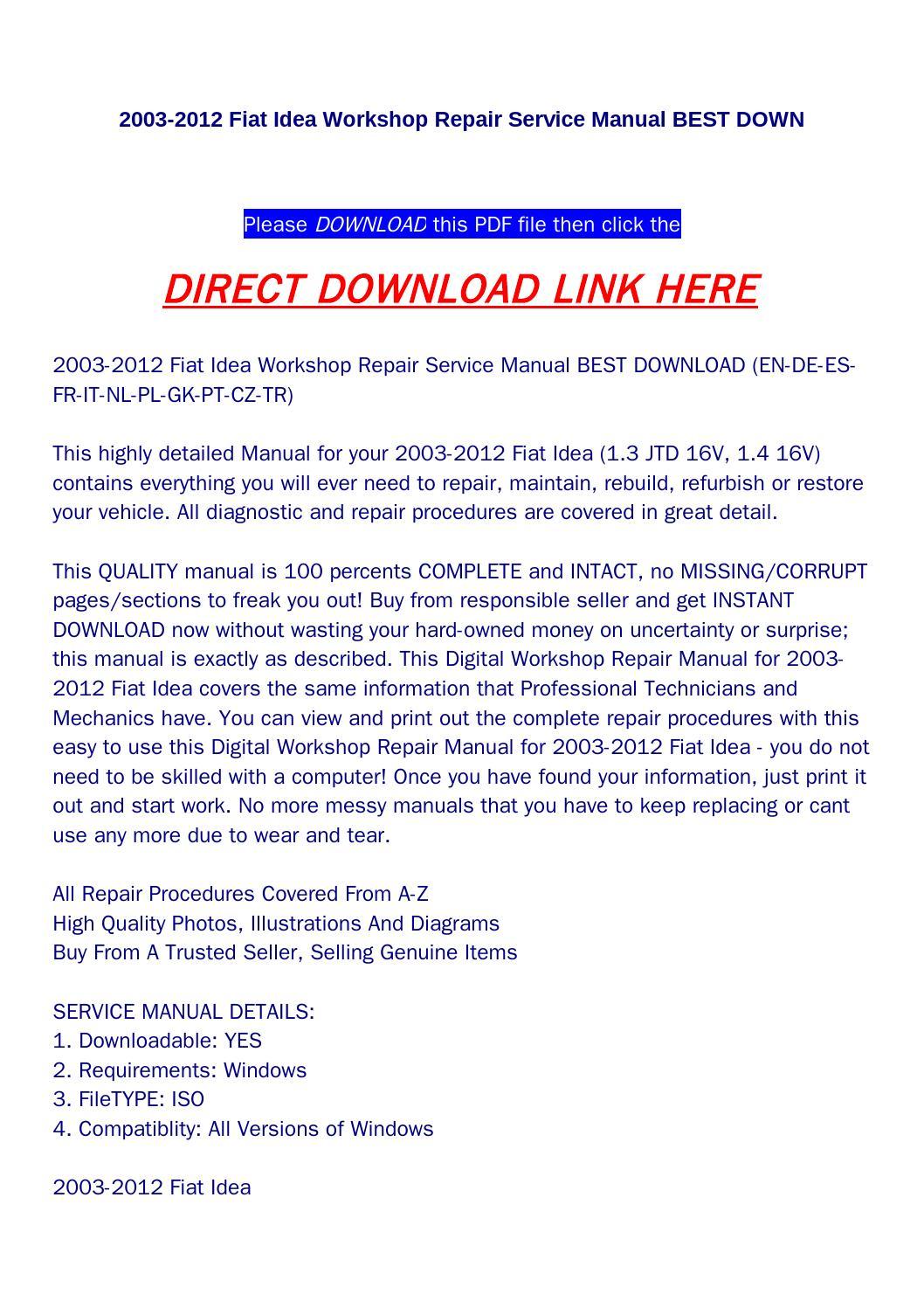 2003 2012 fiat idea workshop repair service manual best down by aood - issuu