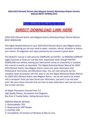 issuu renault megane scenic service manual various owner manual