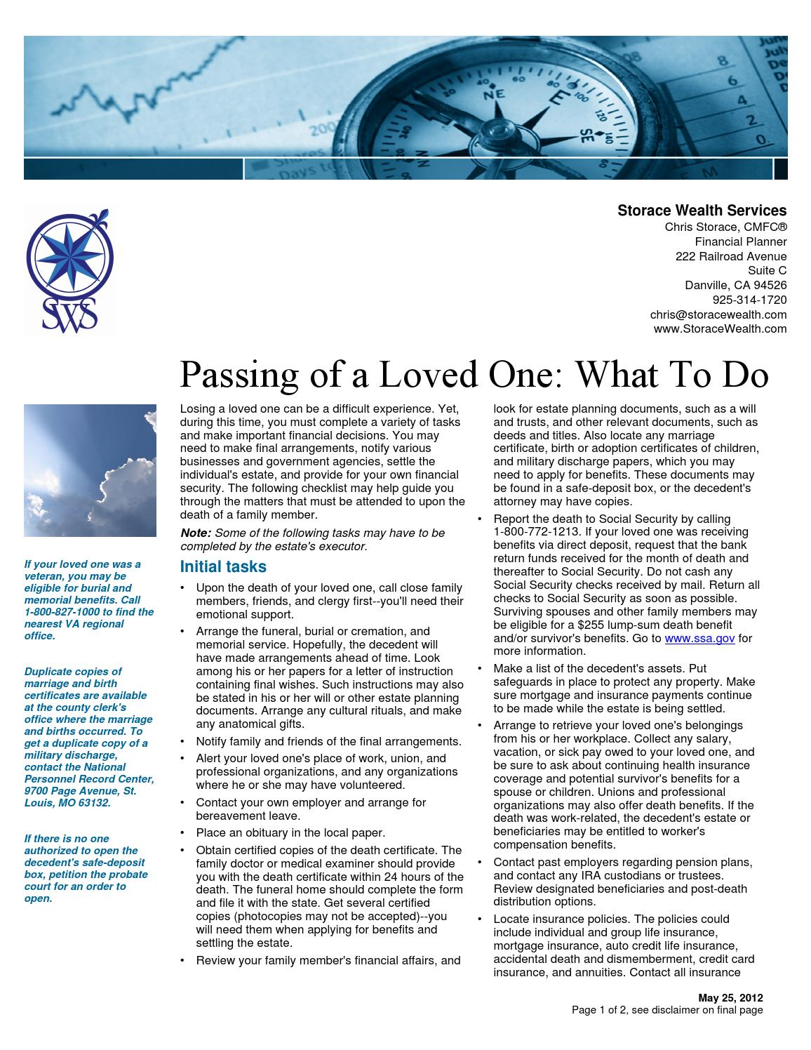 Passing Of A Loved One What To Do By Chris Storace Issuu