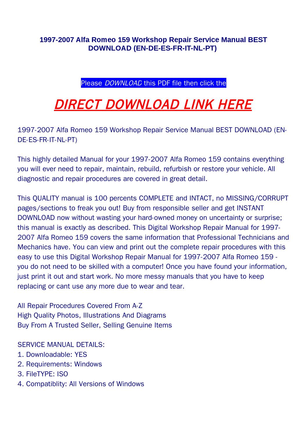 1997 2007 alfa romeo 159 workshop repair service manual best download (en  de es fr it nl pt) by aood - issuu