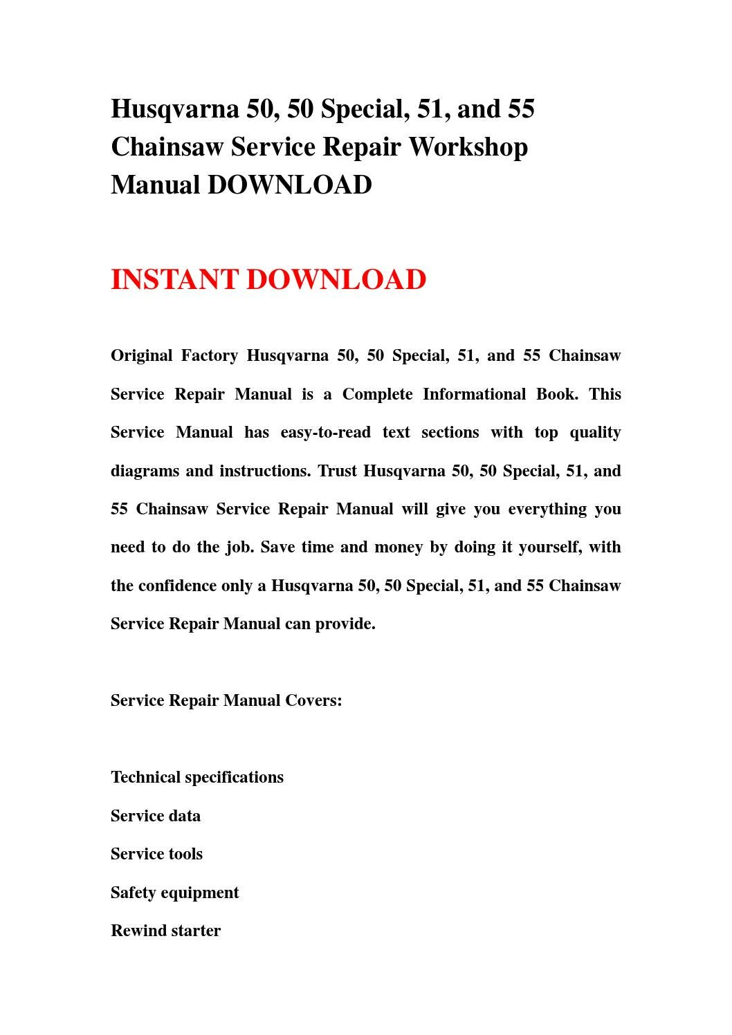 Husqvarna 50, 50 special, 51, and 55 chainsaw service repair workshop manual  download by hgsehn - issuu