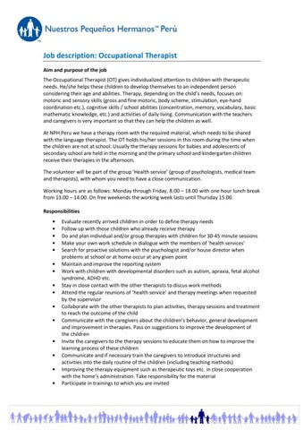 Occupational Therapist Job Description Peru June 2014 By Nph