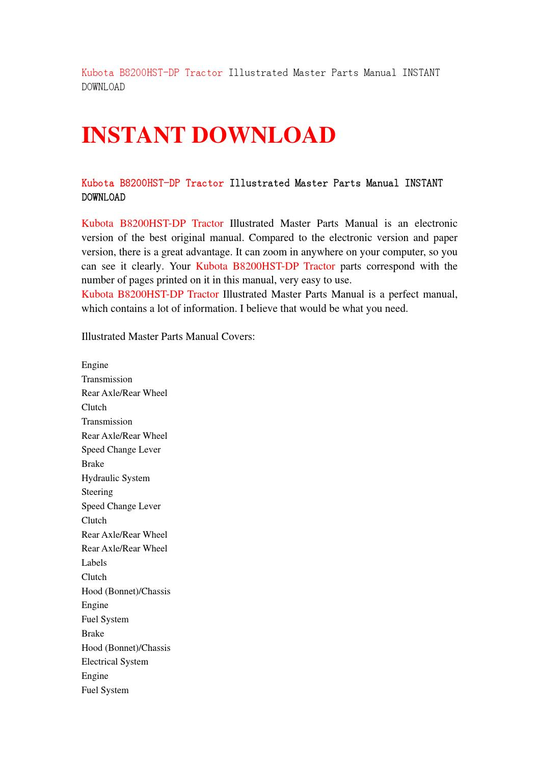 Kubota b8200hst dp tractor illustrated master parts manual instant download  by ysgebfh - issuu