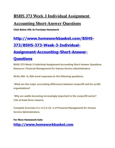 Bshs 373 week 3 individual assignment accounting short by robert - issuu