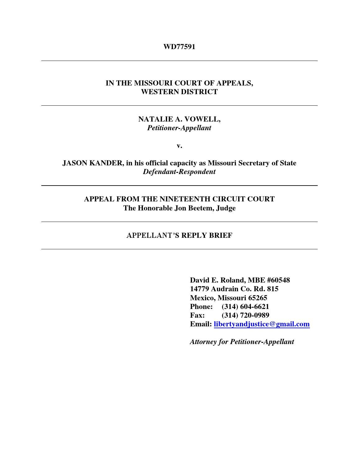 Vowell v kander final appellant's reply brief by David Roland - issuu