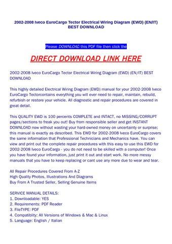 2002 2008 iveco eurocargo tector electrical wiring diagram ewd en rh issuu com Light Switch Wiring Diagram Simple Wiring Diagrams