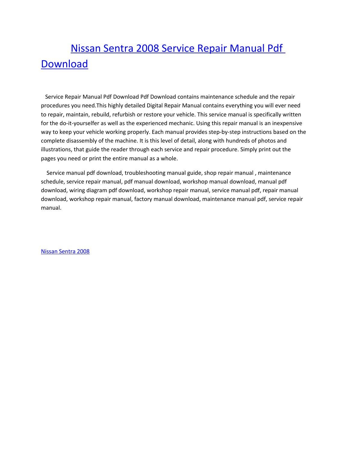 Nissan sentra 2008 service repair manual pdf download by