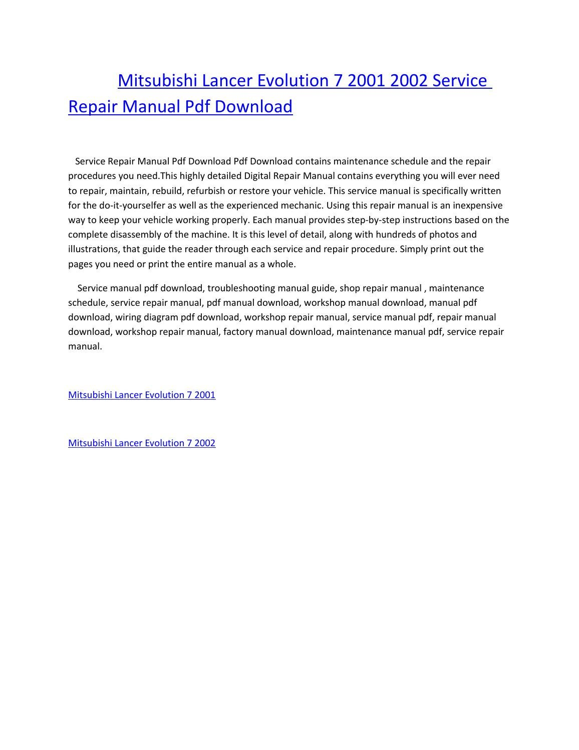 Mitsubishi lancer evolution 7 2001 2002 service repair manual pdf download  by amurgului - issuu