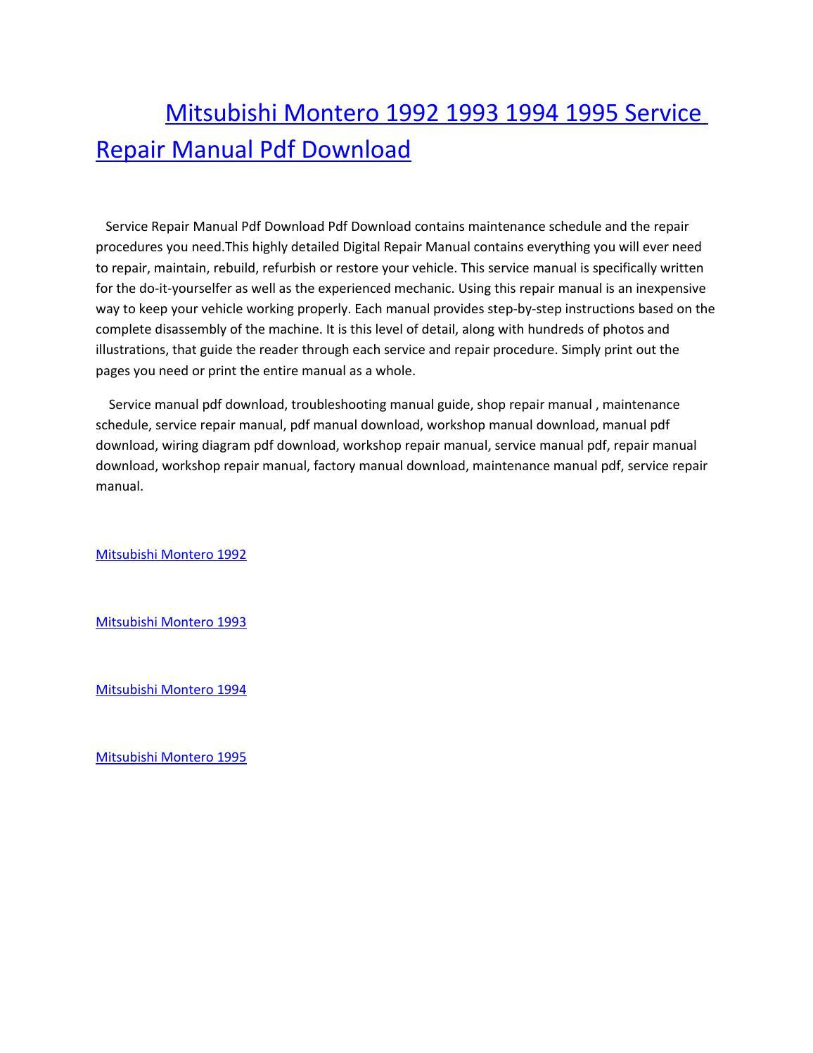 mitsubishi montero 1992 1993 1994 1995 service repair manual pdf download  by amurgului - issuu