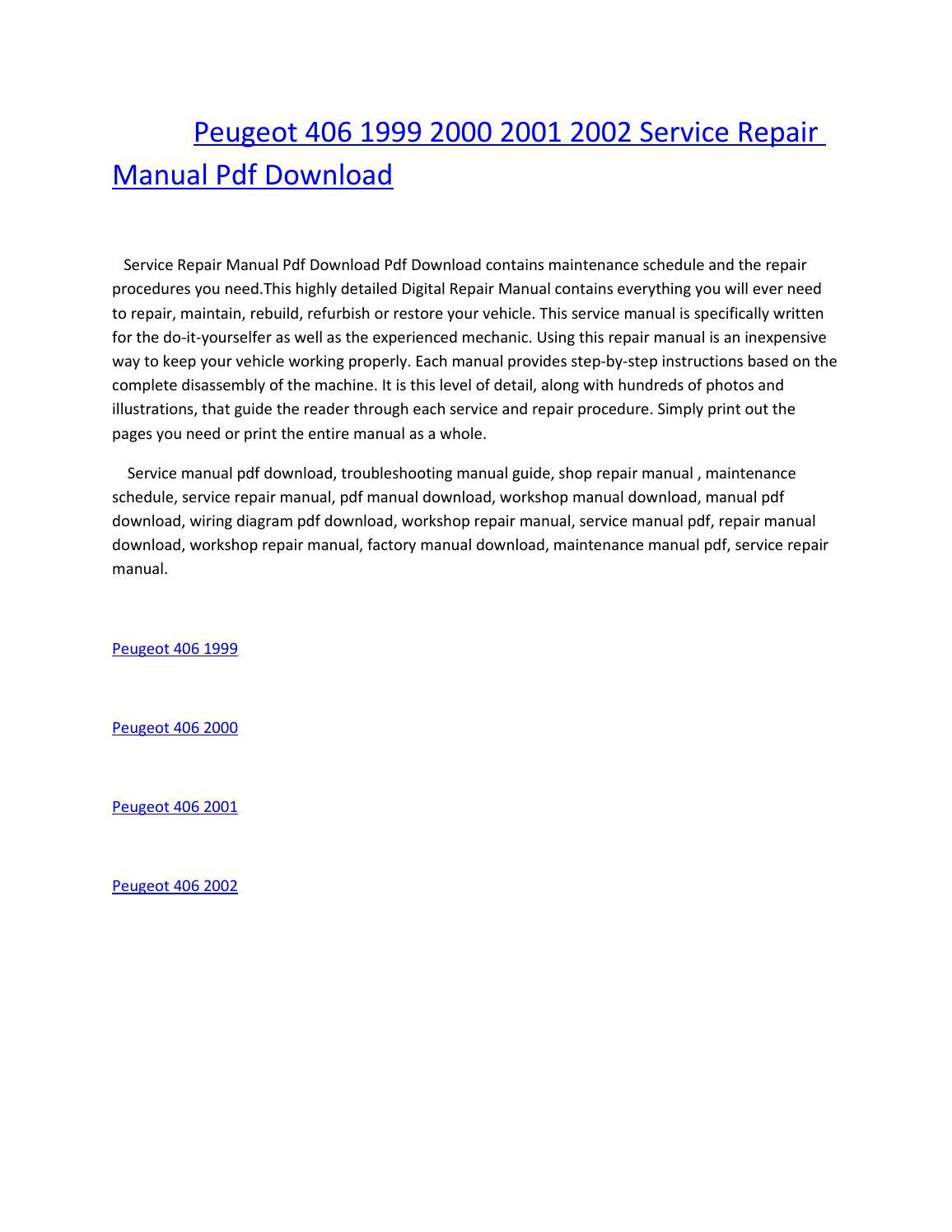 peugeot 406 1999 2000 2001 2002 service repair manual pdf download by  amurgului - issuu