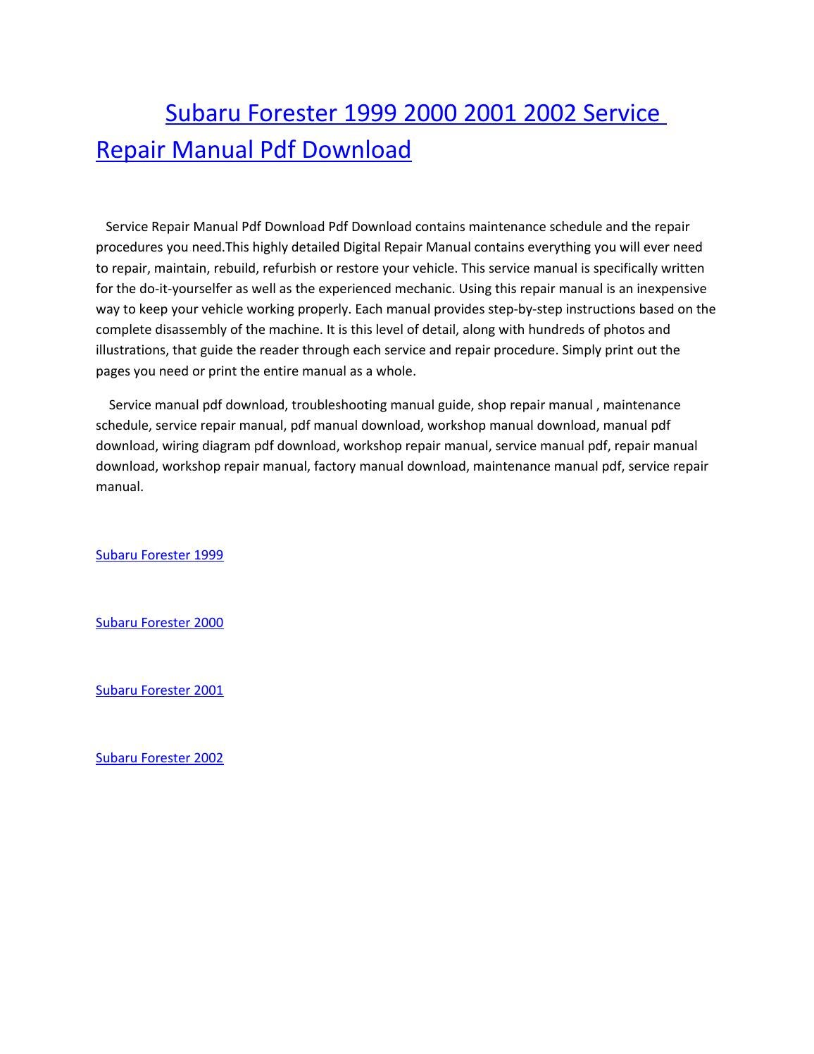 Subaru forester 1999 2000 2001 2002 service repair manual pdf download by  amurgului - issuu