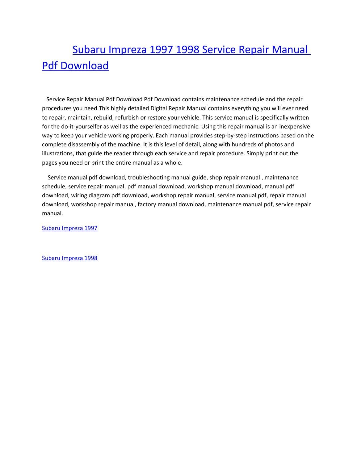 Subaru impreza 1997 1998 service repair manual pdf download by amurgului -  issuu