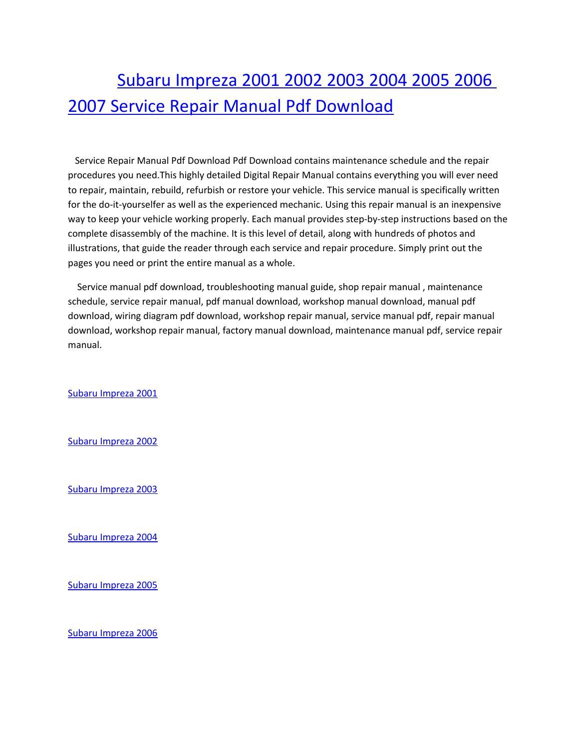 Subaru Impreza 2001 2002 2003 2004 2005 2006 2007 Service Repair Wiring Diagram Manual Pdf Download By Amurgului Issuu