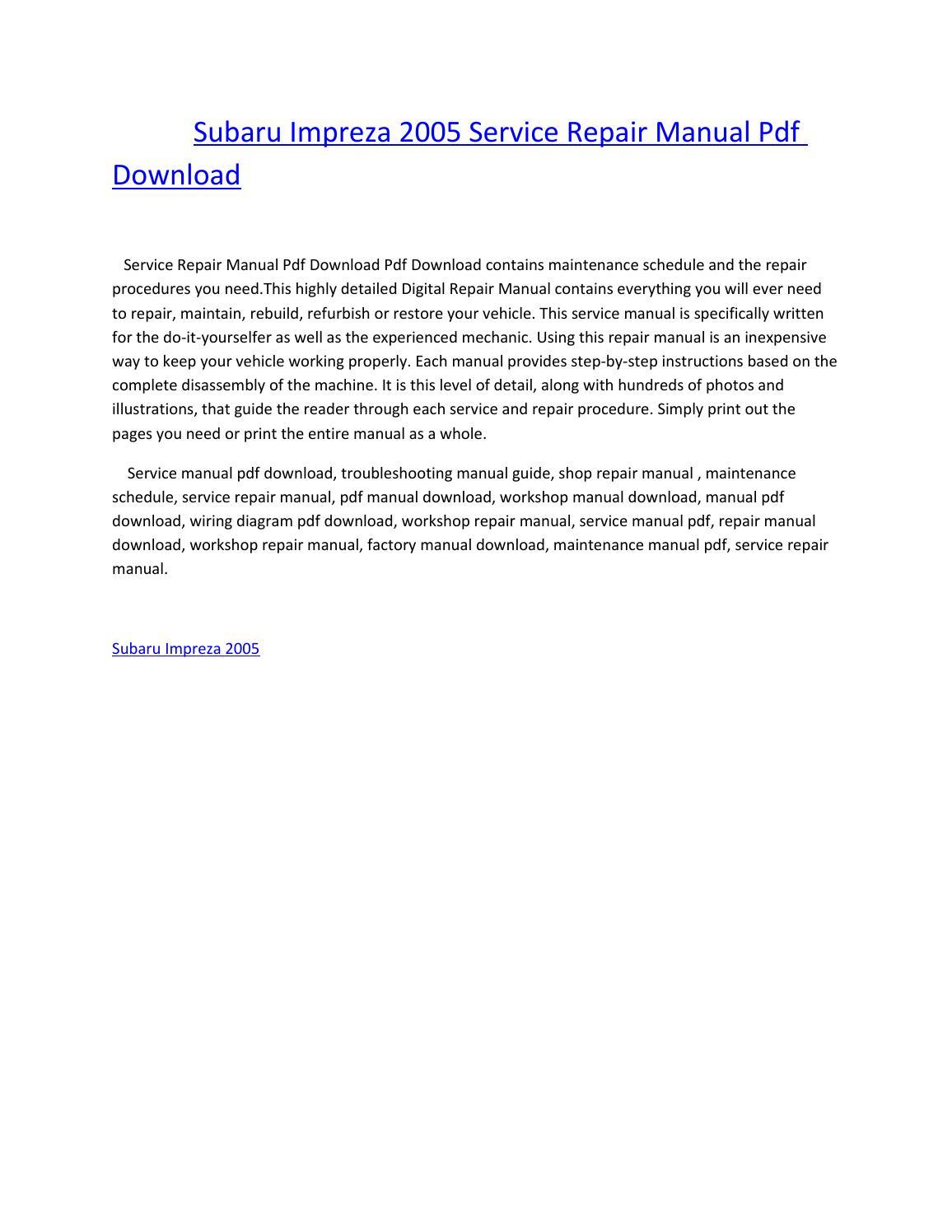 Subaru impreza 2005 service repair manual pdf download by amurgului - issuu