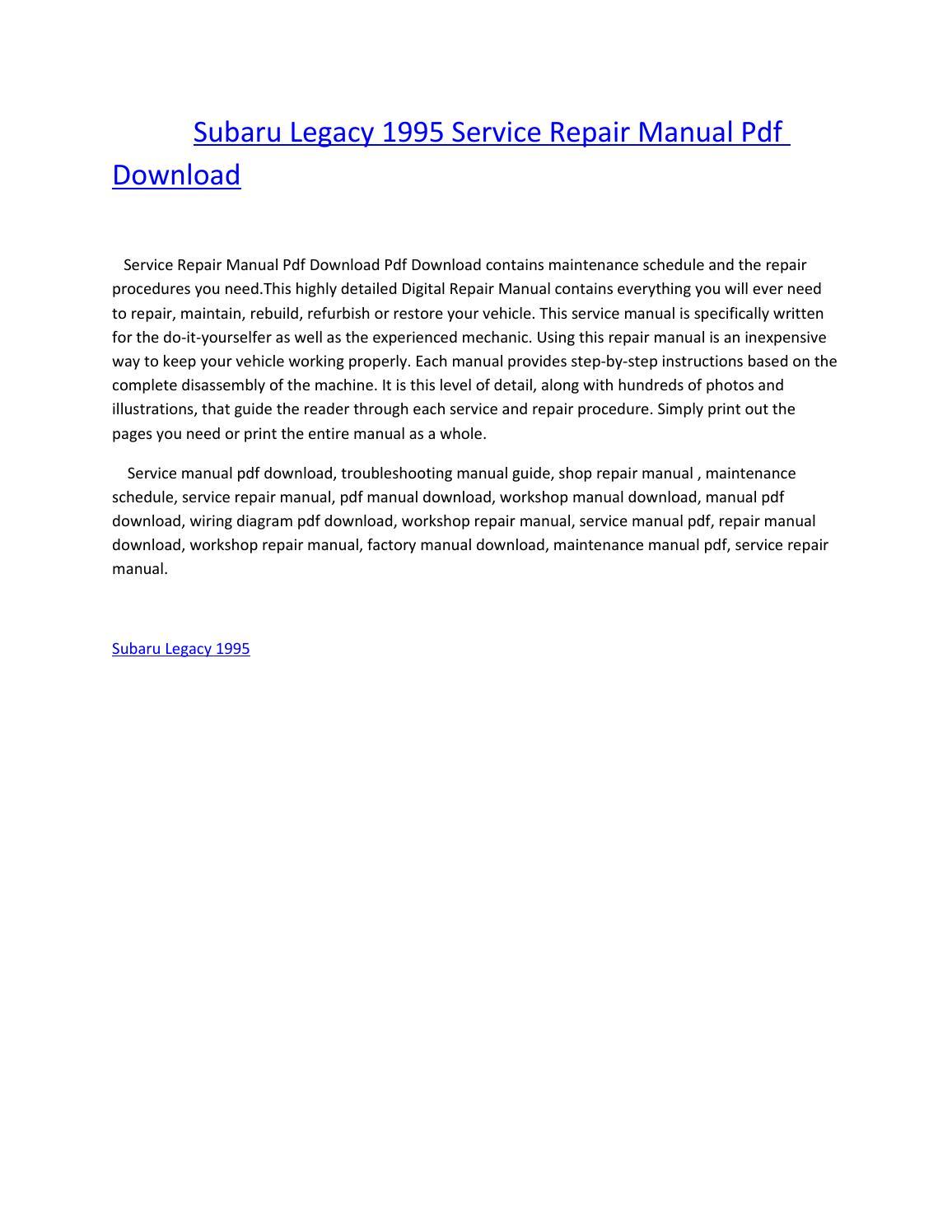 Subaru legacy 1995 service repair manual pdf download by amurgului - issuu