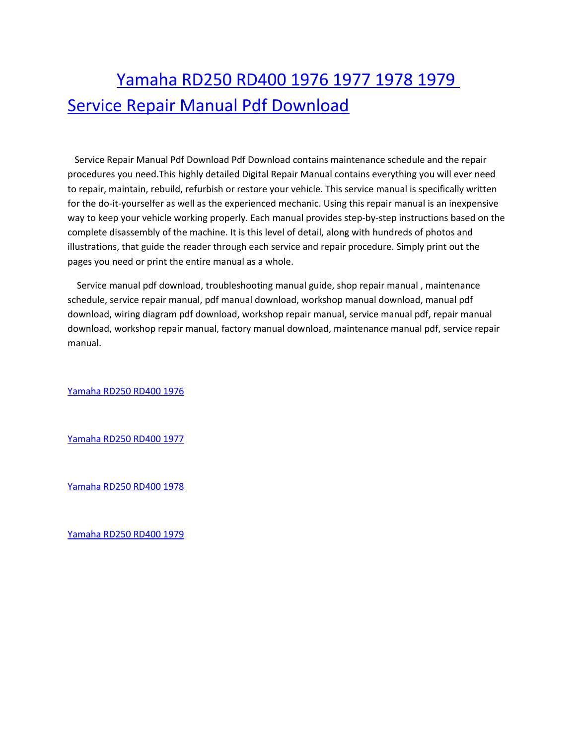 Yamaha rd250 rd400 1976 1977 1978 1979 service repair manual pdf download  by amurgului - issuu