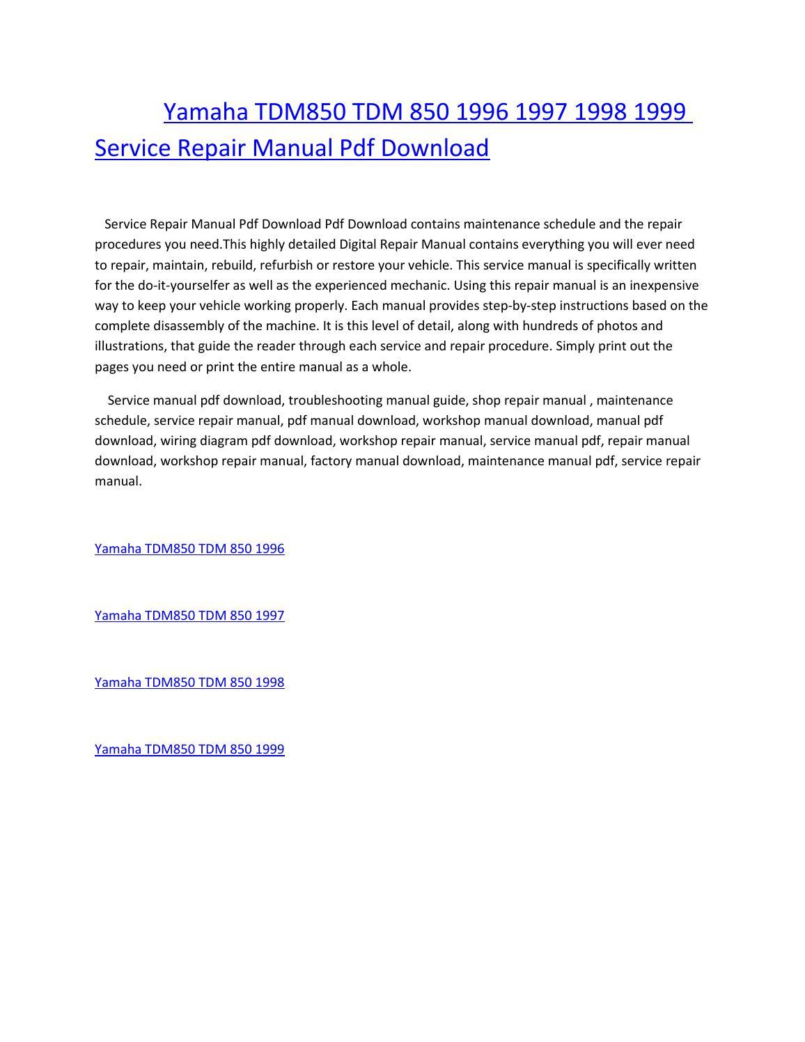 yamaha tdm850 tdm 850 1996 1997 1998 1999 service repair manual pdf  download by amurgului - issuu