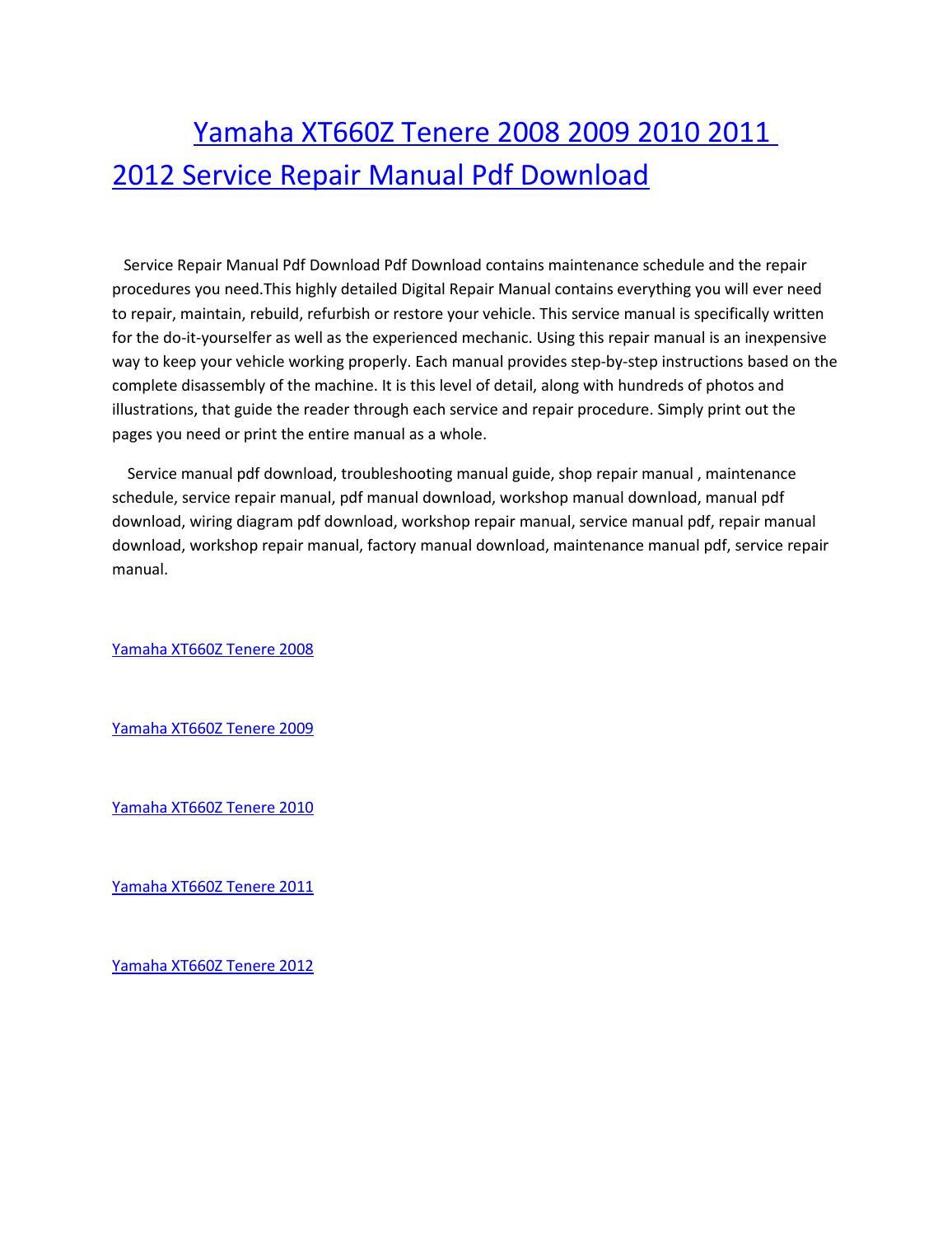 2008 Yamaha Pdf Renault Workshop Service Repair Manual Wiring Diagram 2012 Pack Array Xt660z Tenere 2009 2010 2011 Rh Issuu Com