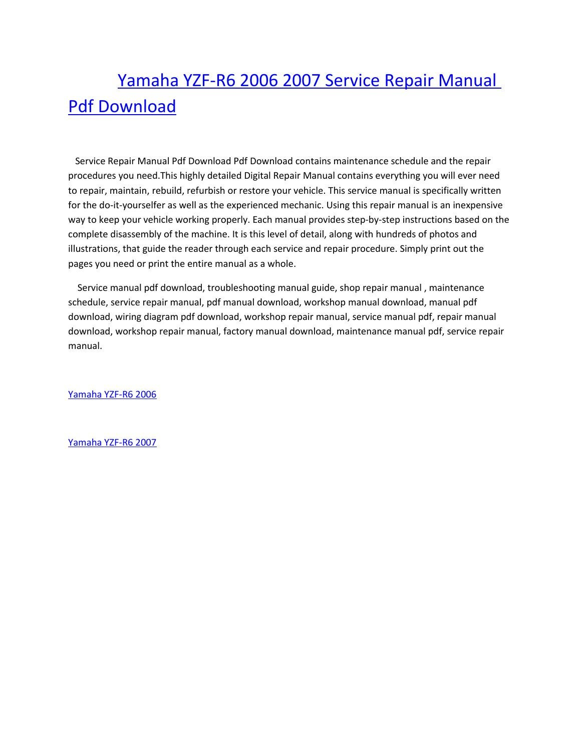 Yamaha yzf r6 2006 2007 service repair manual pdf download
