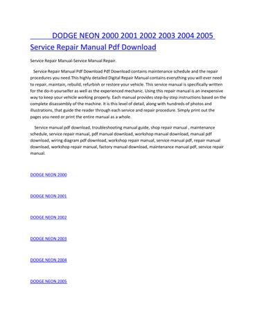dodge neon 2000 2001 2002 2003 2004 2005 service repair manual pdf download  service repair manual-service manual repair  service repair manual pdf  download