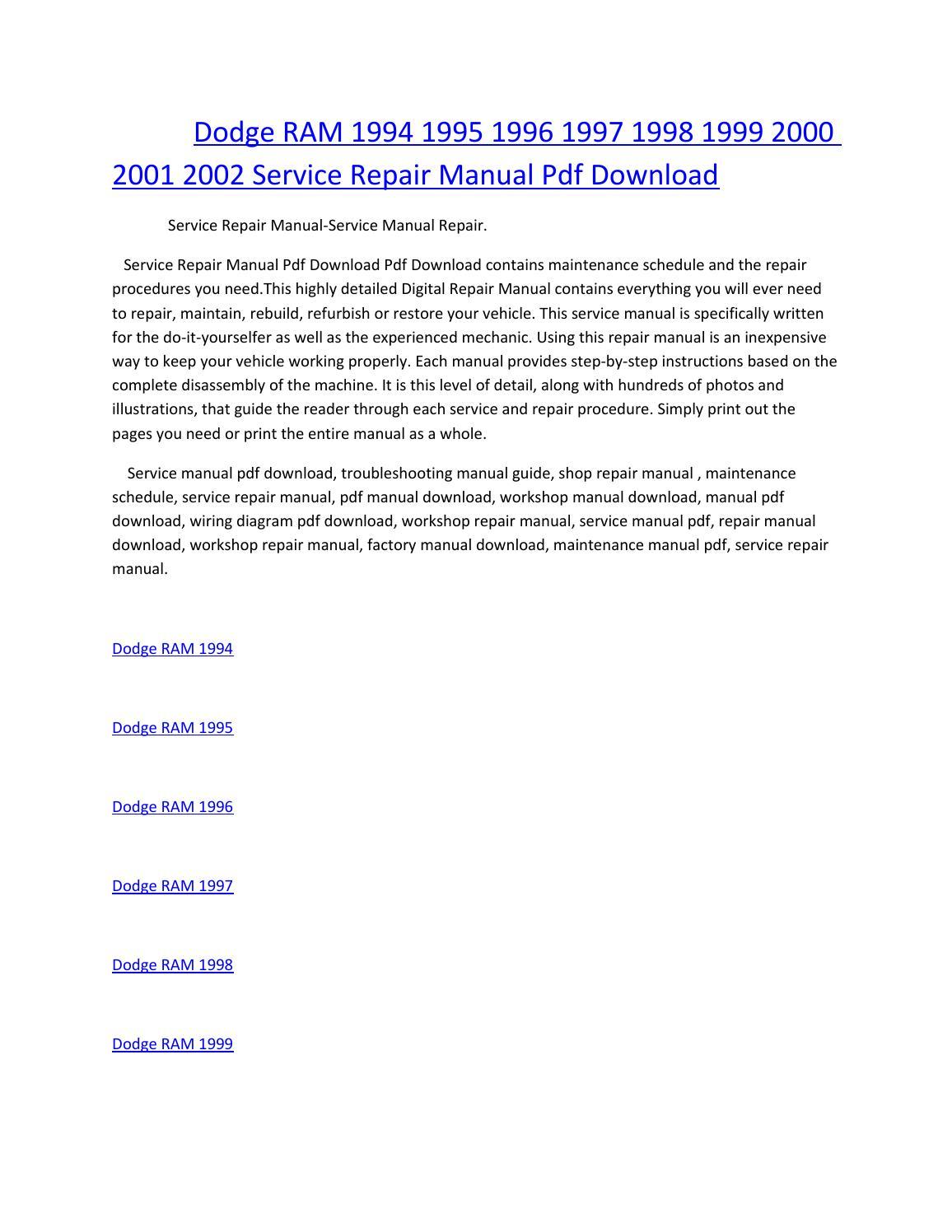 Dodge ram 1994 1995 1996 1997 1998 1999 2000 2001 2002 service manual  repair pdf download by amurgului - issuu