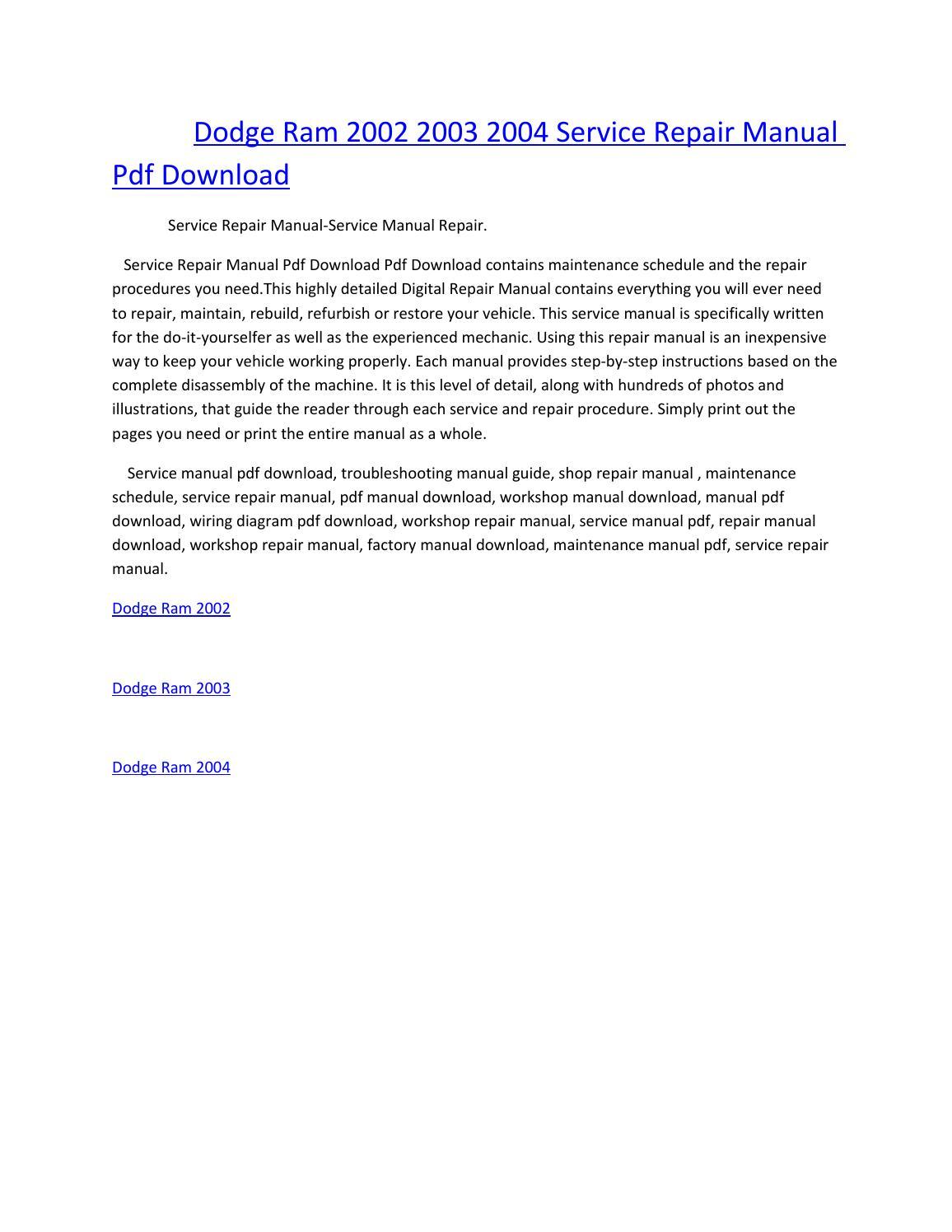 Dodge ram 2002 2003 2004 service manual repair pdf download by amurgului -  issuu