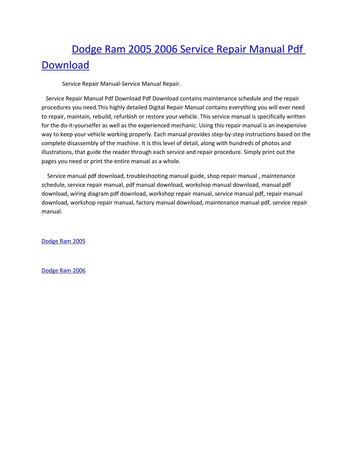 Dodge ram 2005 2006 service manual repair pdf download by amurgului - issuu