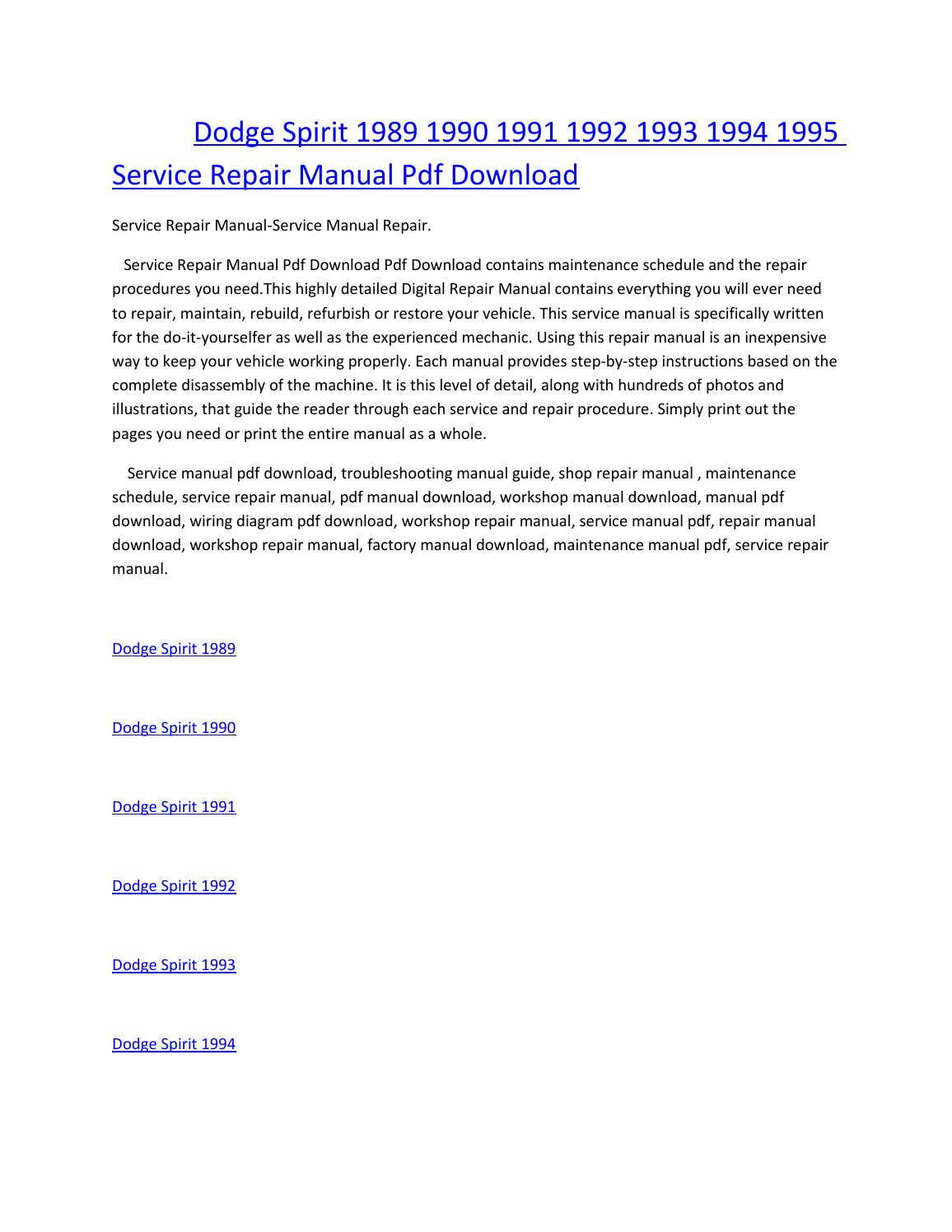 Dodge spirit 1989 1990 1991 1992 1993 1994 1995 service manual repair pdf  download by amurgului - issuu