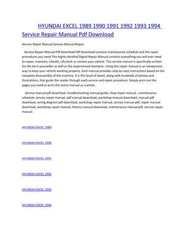 hyundai excel 1989 1990 1991 1992 1993 1994 service manual repair pdf  download