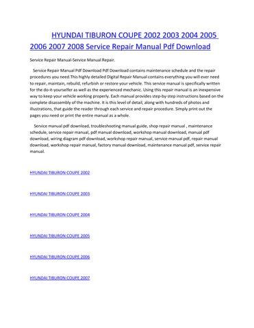 hyundai tiburon coupe 2002 2003 2004 2005 2006 2007 2008 service manual  repair pdf download